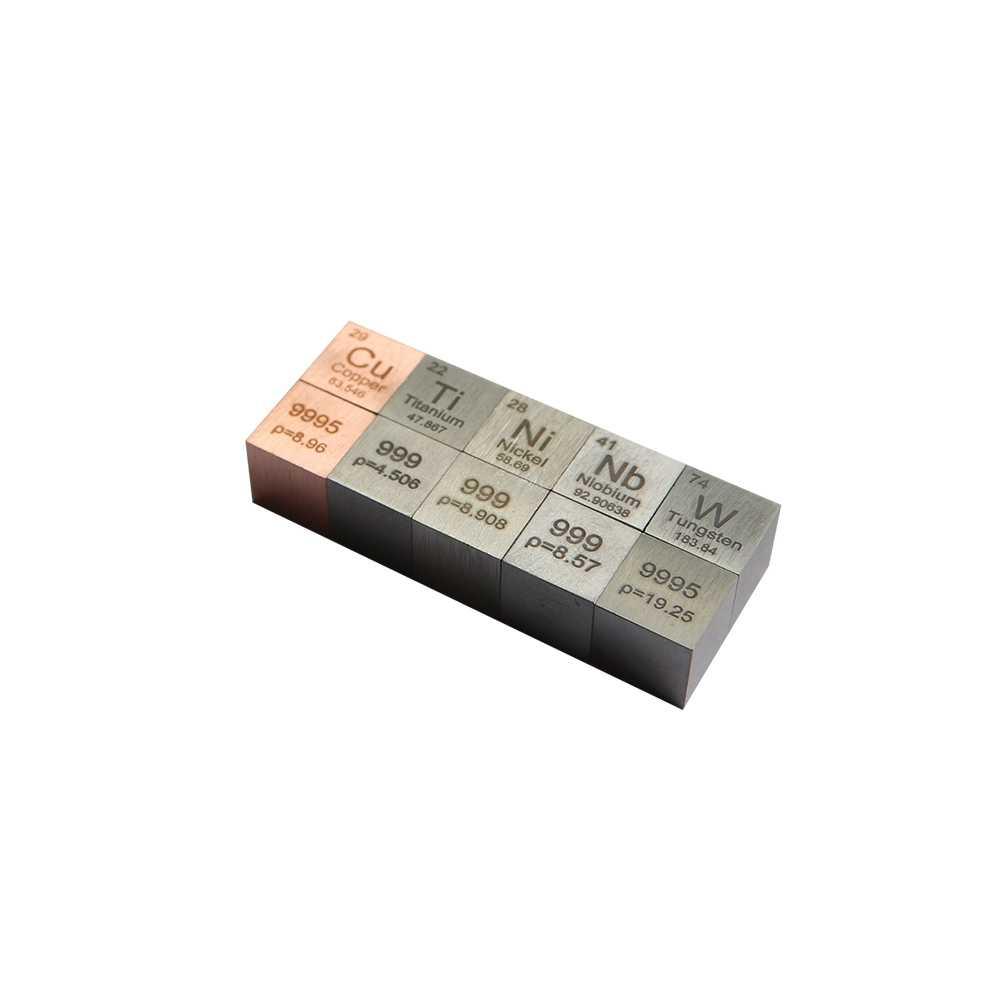 Sets of 5 metals Tungsten +Copper +Titanium +Niobium +Nickel Cube Metal Density Cube 10mm Periodic Table Collection